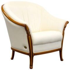 Nieri Designer Chair Leather Crème Beige One-Seat Wood