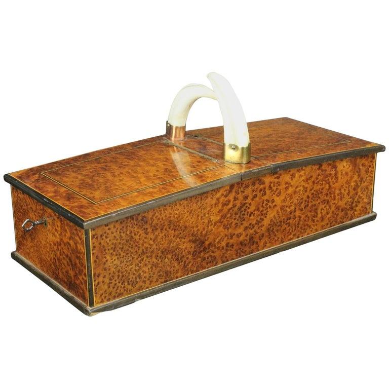 Very Unusual 1920s Art Deco Amboyna Burl and Wild Boar's Tusks Cigar Box