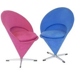 Verner Panton Design Pair of Cone Chairs Vitra Blue Red Denmark Original Nehl