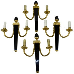 Set of Four Neoclassical Sconces by Maison Bagues
