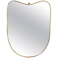 Midcentury Italian Wall Mirror with Brass Frame