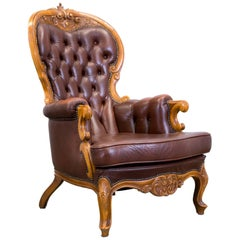 Chesterfield Brown Leather Armchair, One-Seat Wood Barock Retro