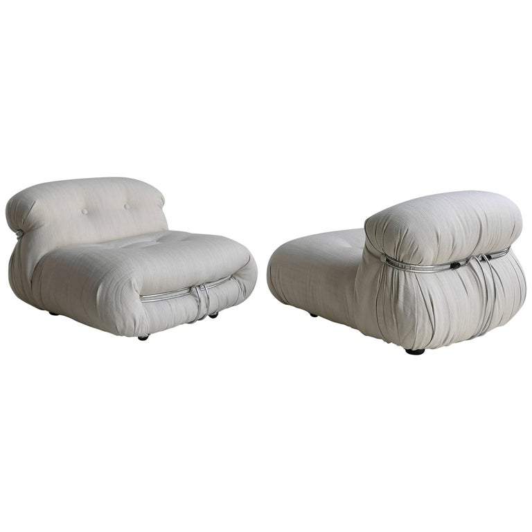 Pair of Afra & Tobia Scarpa 'Soriana' Lounge Chairs in off White