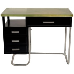 Tubular Desk in Black Lacquered Metal and Glass Slab, 1930