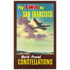 Original Vintage Travel Poster Fly TWA San Francisco World-Proved Constellations