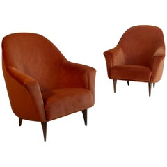 Pair of Armchairs in Red Terra Velvet, Italy, 1950s