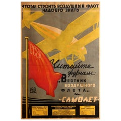 Original Vintage Soviet Poster Advertising USSR Air Fleet News Magazine Journal