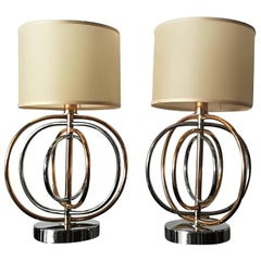 Pair of Brass and Gold Italian Table Lamps 1960.