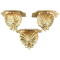 Hollywood Regency Silver Toned Shelf Wall Sconces in Shell Form