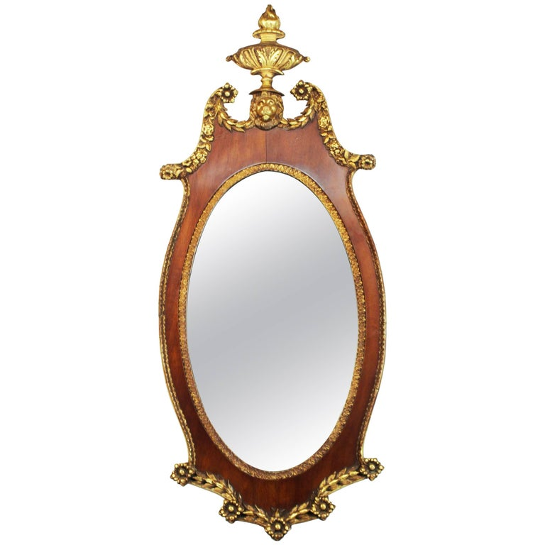 Federal Style Oval Wall Mirror with Lion Motif