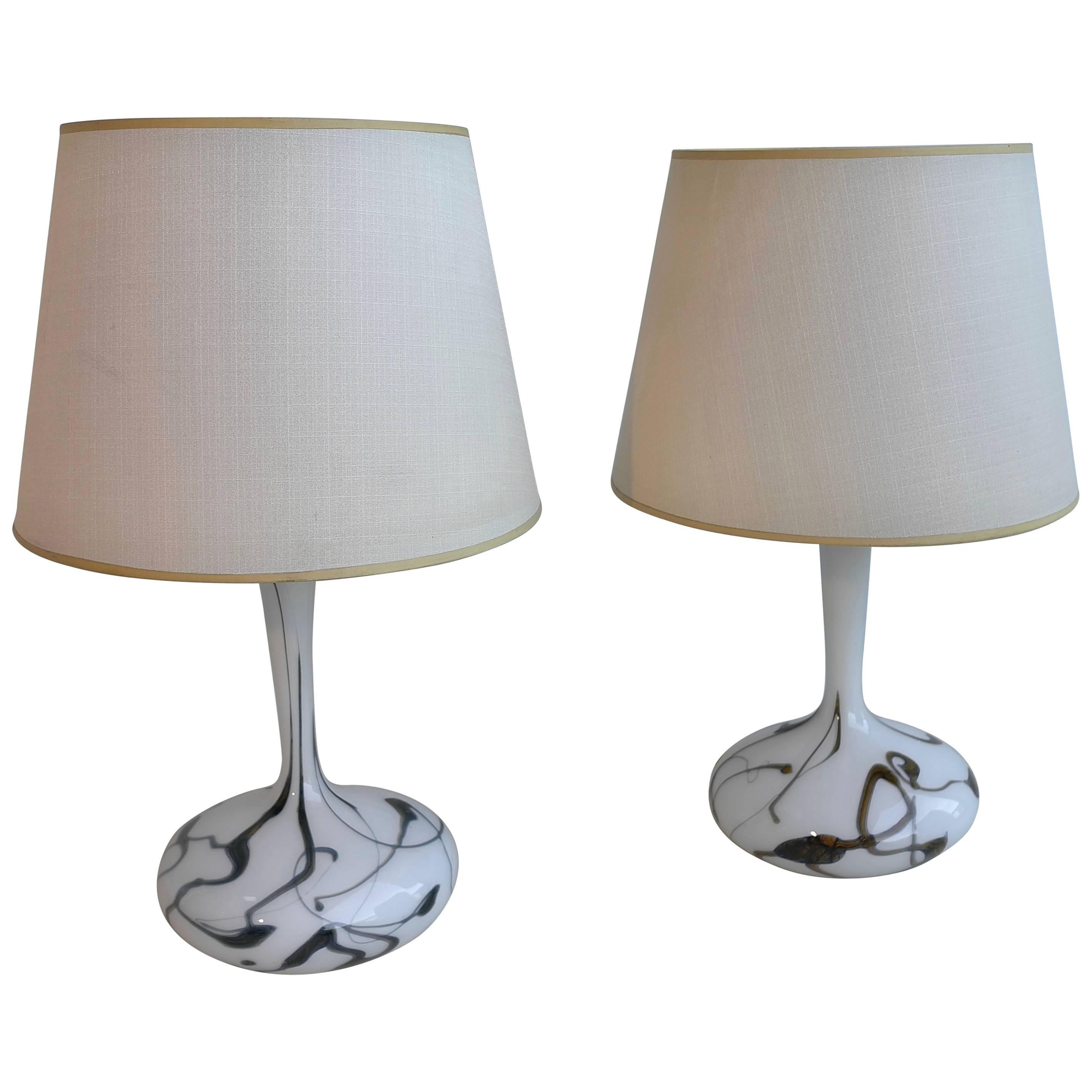Pair of White Glass Murano Art Table Lamps, Italy, 1960s