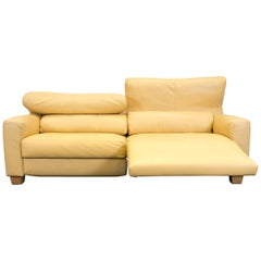 FSM Leather Couch Relax Function Three-Seat Sofa Yellow Orange