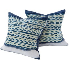 Pillow, Dong Indigo Stripe with Guatemalan Panels in Blue and Yellow