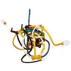 Multi-Color Vinyl Tube Chandelier Style Lighting Fixture, Justin Cooper Studios