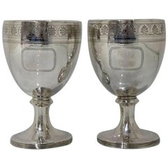 George III Sterling Silver Pair of Wine Goblets London 1809 William Bennett