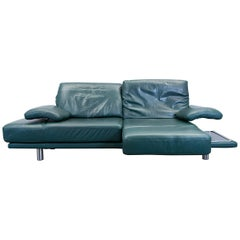 Rolf Benz 2400 Designer Sofa Leather Green Relax Three-Seat Couch Recliner