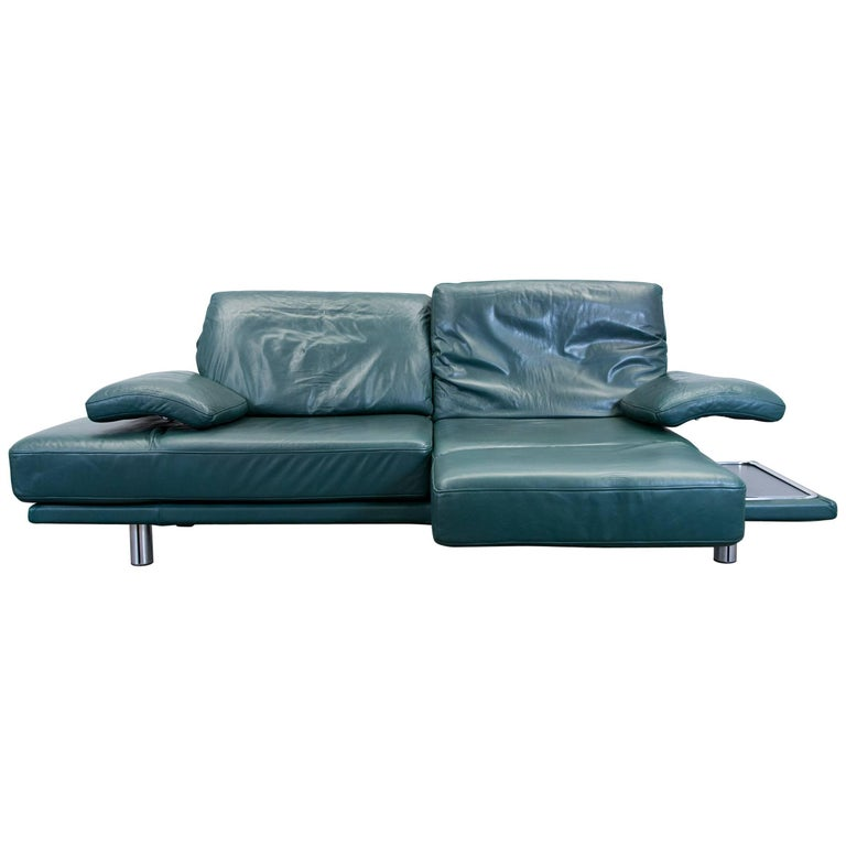 Rolf Benz 2400 Designer Sofa Leather Green Relax Three