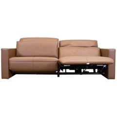 FSM Moto Leather Couch Brown Electric Function Three-Seat Sofa