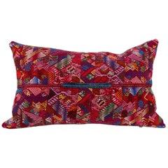 Guatemalan Huipil Textile Pillow in Red, Pink Violet Blue Yellow
