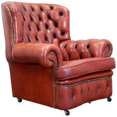 Chesterfield Armchair Leather Brown Orange One-Seat Vintage Retro Rivets