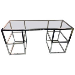 Desk Modern Chrome and Smoke Glass Open Sides