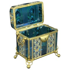 French Late 19th Century Enameled and Gilt Blue Glass Box