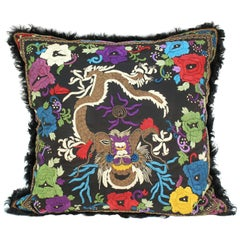 Asian-Inspired Silk and Fur Pillow with Embroidered Dragon Motif