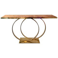 Contemporary Brass Console Two Circle Red Onix, Italy