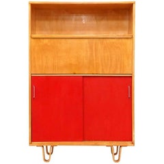 Beautiful Pastoe Birch Desk Cabinet with Red Sliding Doors