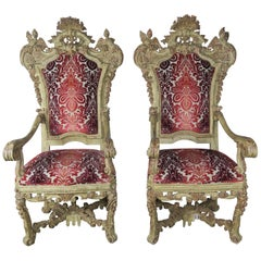 Monumental Carved Venetian Painted Armchairs, Pair