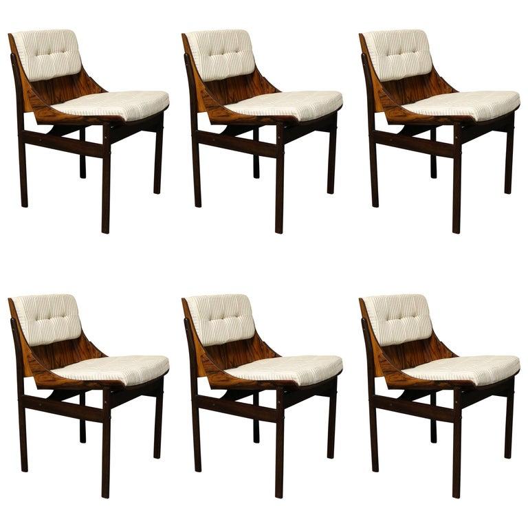 Six Brazilian Jacaranda Dining Room Chairs Attributed to Jorge Zalszupin
