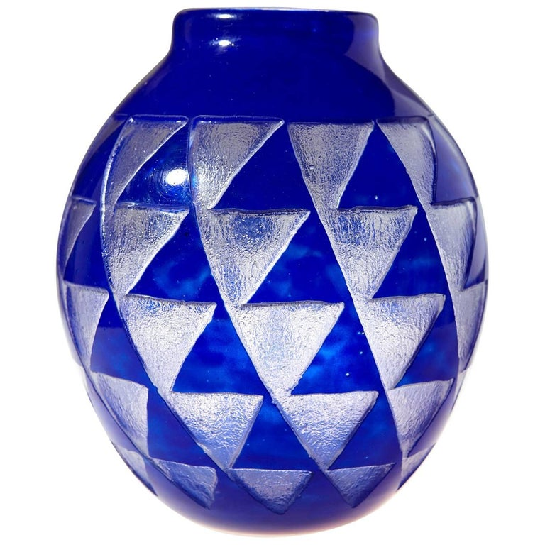 French Art Deco Blue Sandblasted Glass Vase by David Gueron for Degué For Sale