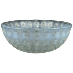 "Lalique Opalescent and Frosted Glass ""Nemours"" Early Post War Bowl"