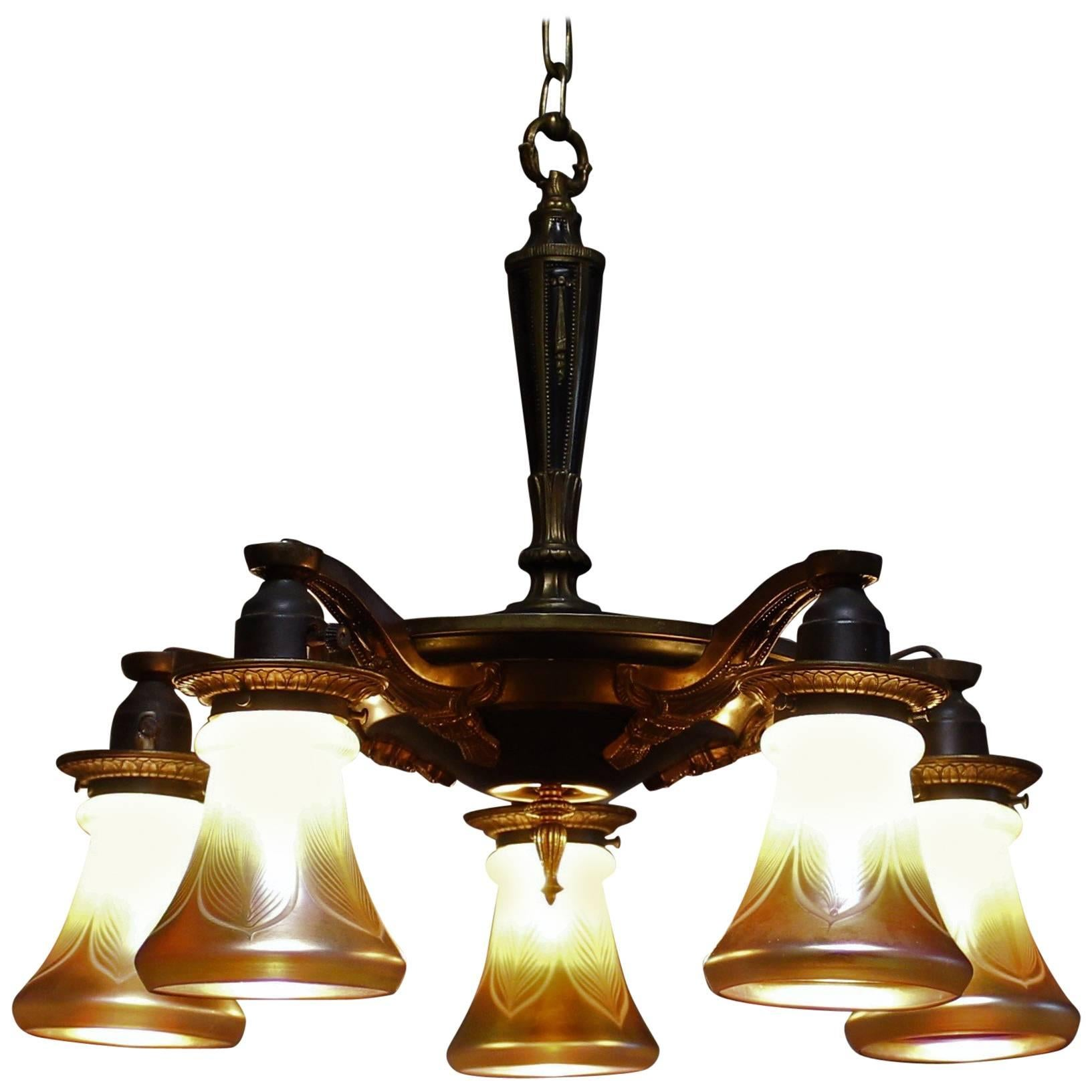 Five-Arm Brass Chandelier with Irridescent Glass Shades