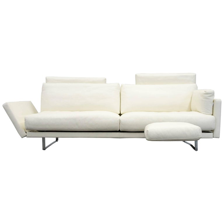 FSM Varino Leather Couch Crème White Function Three-Seat Sofa