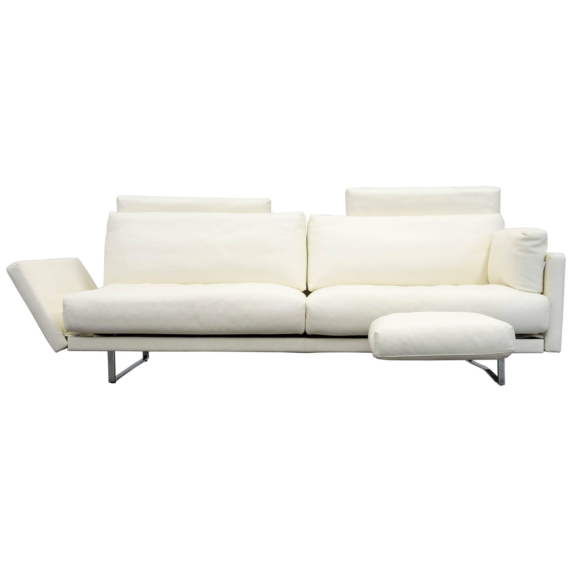 FSM Varino Leather Couch Crème White Function Three Seat Sofa