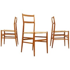 Gio Ponti Superleggera Dining Chairs 1950s by Figli Di Amedeo Cassina