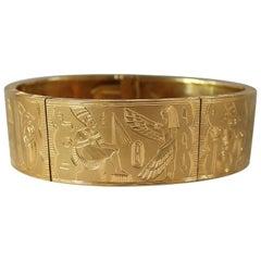 Egyptian Hand Engraved 18-Karat Gold Bracelet