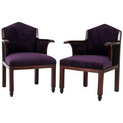 Pair of Mahogany Art Deco Amsterdam School Club Chairs by Fa.Drilling, 1920s