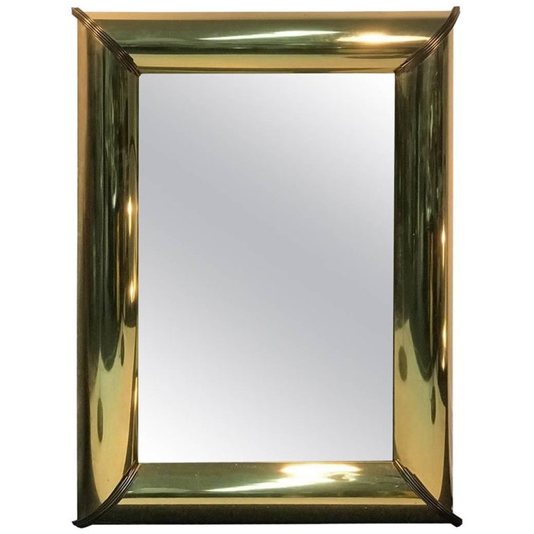Mirror with Brass Trim and Bold Moldings in the Style of Mastercraft