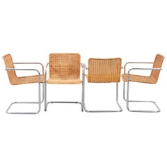 Set of Six Wicker and Chromed Steel Chairs, Italy, 1970s