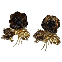 1970s Wall Lamp Pair of Anemones Maison Jansen in Brass