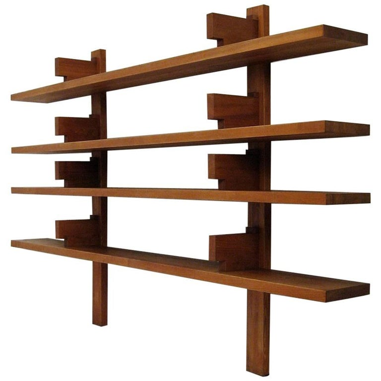 1960s Pierre Chapo French Elm Model B 17 A Wall-Mounted Shelves For Sale