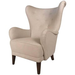 Comfortable Danish Wingback Armchair