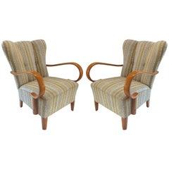 Italian Mid-Century Modern Beech and Boucle Armchairs Attributed Paolo Buffa
