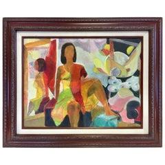 Midcentury Signed Original Oil Painting 1970s Elkins