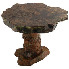Antique Root Table Olive Wood Center or Side Organic Table, circa 1920