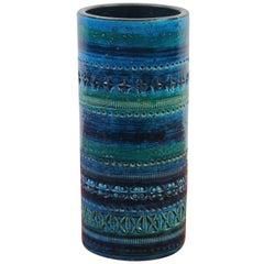 Midcentury Italian Ceramic Blue Bitossi Vase