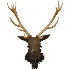 19th Century Black Forest Hunting Trophy in Carved Wood and Deer Antlers