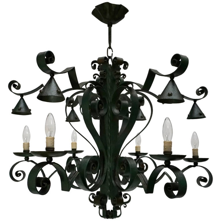 Large French Wrought Iron Chandelier For Sale